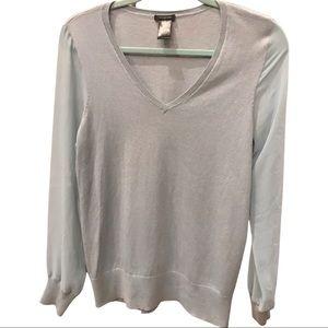 Ann Taylor lightweight sweater, light bluish gray